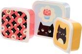lunchbox Katten Feline set van 3 stuks broodtrommel lunchtrommel