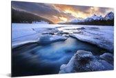 Zonsopkomst bij het het Jasper nationaal park in Canada Aluminium 90x60 cm - Foto print op Aluminium (metaal wanddecoratie)
