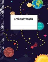 Space Notebook: Boys' and Girls Fun Lined Notebook for Grades K-2-3-4