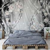 Fotobehang Luxury Ornamental Design Diamonds Silver | V8 - 368cm x 254cm | 130gr/m2 Vlies
