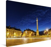 Avondfoto van de Franse stad Nantes Canvas 90x60 cm - Foto print op Canvas schilderij (Wanddecoratie woonkamer / slaapkamer) / Europese steden Canvas Schilderijen