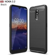 Nokia 3.2 Carbone Brushed Tpu Zwart Cover Case Hoesje