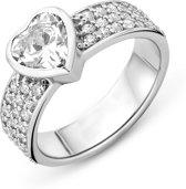 Majestine 925 Zilveren Ring Hart met Zirkonia maat 52