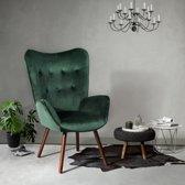 Evella Living –  Chair| Velvet | Design | Houten poten | Stijlvol |Donker Groen