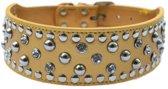 Honden halsband goud met luxe strass stenen en studs 56 cm