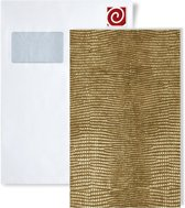 1 PROEFMONSTER S-13478 WallFace LEGUAN GOLD Leather Collection | Wandbekleding STAAL in ongeveer A4-formaat