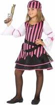 Piraten jurkje / kostuum voor meisjes roze 128 (7-9 jaar)
