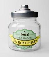 Snoeppot - Gefeliciteerd - Gevuld met luxe verpakte toffees - In cadeauverpakking met gekleurd lint