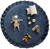 Speelmat / Speelkleed Kinderkamer Velvet Donkerblauw - Vloerkleed 120 cm doorsnede