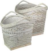 HSM Collection mandenset - bamboo - white wash - set van 2