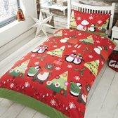 Kerst dekbedovertrek rood met groen - eenpersoons met 1 kussensloop