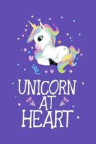 Unicorn at Heart: Unicorn Primary Composition Story Paper Journal, Dotted Midline and Picture Space, Grade Level K-2 & K-3 Draw and Writ