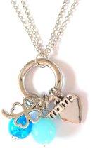 Jewellicious Designs Silver & Aqua Mama ketting - kraamcadeau jongetje - geboortecadeau - zilverkleurig aqua