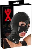 Late X – Latex Hoofdmasker Glanzend met Openingen en Anatomische Pasvorm -  Zwart
