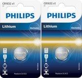 2 Stuks - Philips CR1632 3v lithium knoopcelbatterij