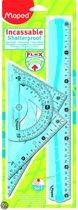 Flex Set met 1 x 30 cm liniaal/2 x 21 cm driehoek  / gradenboog - groen