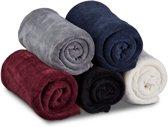 relaxdays - fleece deken groot - verschillende kleuren - plaid - drogerbestendig zwart