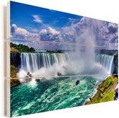 Kleurrijke panorama van de Niagarawatervallen Vurenhout met planken 120x80 cm - Foto print op Hout (Wanddecoratie)