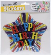 Free And Easy Ballon 3d-stickers Happy Birthday 16cm Ster