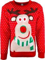 JAP Foute kersttrui - Rudolf met 3D neus voor volwassenen - Dames en heren - S - Rood