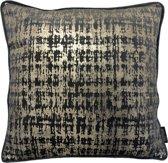 Velvet Baram Grijs Kussenhoes   Fluweel - Polyester   45 x 45 cm   Goud