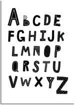 Kinderkamer poster ABC poster DesignClaud - Alfabet poster - Zwart wit - A4 poster