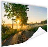 Zonsopkomst door de bomen Poster 120x80 cm - Foto print op Poster (wanddecoratie)