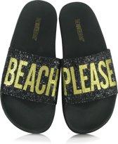 The White Brand - Glitter Beach Please - Badslippers - Dames - Maat 41 - Zwart - Black