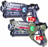 4x Light Battle Active laserpistool camo groen en camo grijs