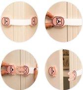 Veiligheidsslot  - Kinderslot - Knijpslot - Beveiliging - Kast - WC - Koelkast - Lade - Bear Design - Baby Lock - Effectief, Veilig en Makkelijk - Roze