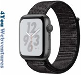 Zwarte Nylon Horloge Band voor Apple Watch 1, 2, 3 en 4, 42mm & 44mm Series - Zacht Geweven Nylon - 42 mm en 44 mm - Reflective Black / Reflecterend Zwart
