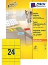 Avery Gekleurde Etiketten, geel, 70,0 x 37,0 mm, permanent klevend