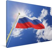 De vlag van Rusland wappert in de lucht Canvas 180x120 cm - Foto print op Canvas schilderij (Wanddecoratie woonkamer / slaapkamer) XXL / Groot formaat!