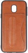 Standing TPU Wallet Case voor Samsung  Galaxy J3 2017 Bruin