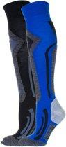 Falcon Coolly Wintersportsokken - Maat 39-42 - Unisex - blauw/ grijs/ zwart