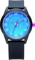 Q&Q Smile Solar 651002 horloge 50 meter 40 mm zwart/ blauw
