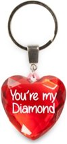 sleutelhanger - You're My Diamond - diamant hartvormig rood