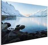 Ersfjordbotn Fjord Noorwegen sneeuw Aluminium 180x120 cm - Foto print op Aluminium (metaal wanddecoratie) XXL / Groot formaat!