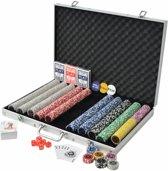 Pokerset met Koffer 1000 Chips - Poker chips set - Pokerset Alumunium Koffer