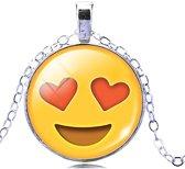 Emoji ketting met hartjes ogen