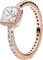 Ring Rose met Vierkante Zirkonia steen | 925 Sterling Zilver verguld met Rose | net zo waardevol als pandora maar dan goedkoop | direct snel leverbaar | US maat 7 | Pandora maat 54 | 17.22 mm max diameter | Cadeau | Kado