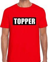Topper  in kader shirt heren rood  / Topper in zwarte balk rood shirt heren 2XL