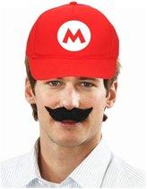 Feestpet Mario / loodgieter rood met zwarte plaksnor voor kinderen - verkleedkleding / carnaval outfit