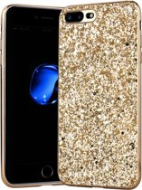 Luxe Glitter Backcover voor Apple iPhone 7 Plus - iPhone 8 Plus - Bling Bling Hoesje - Goud - Hoogwaardig Hardcase - Glamour