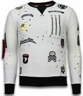 Local Fanatic Exclusief Basic Embroidery - Sweater Patches - Wit - Maten: M
