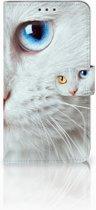 Motorola Moto E4 Plus Uniek Boekhoesje Witte Kat
