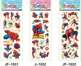 Vier Stickervellen 2x SPIDERMAN + 2x MINIONS,  Ca. 50 Stickers - Bubble 3D Stickers