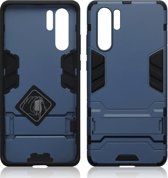 Qubits - Double Armor Layer hoes met stand - Huawei P30 Pro - Blauw