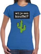 Wil je een Knuffel tekst t-shirt blauw dames - dames shirt Wil je een Knuffel? L