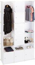 relaxdays kledingkast - variabel kliksysteem - uitbreidbaar - kunststof garderobekast wit